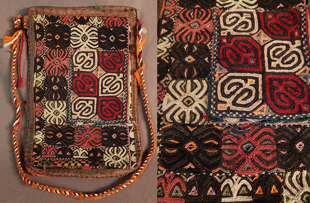 Vintage Afghan Uzbek Lakai Embroidery Tribal Ethnic Boho Bedouin Pouch Purse