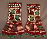 Vintage Antique Turkish Colorful Ethnic Hand Knit Wool Winter Gloves Mittens