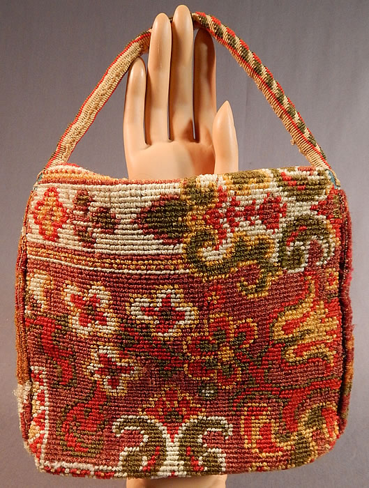 Victorian Antique Civil War Era Wool Mohair Carpet Bag Sewing Notions Purse