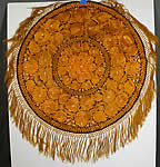 Antique Matyo Hungarian Folk Embroidery Yellow Floral Fringe Round Tablecloth