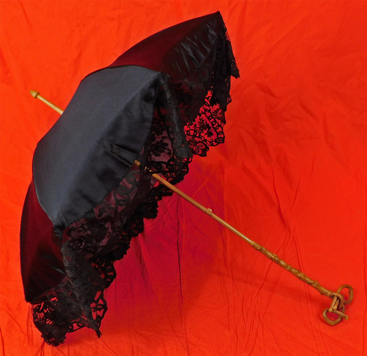 Edwardian Antique Black Silk Lace Burl Wood Stafford Knot Handle Parasol