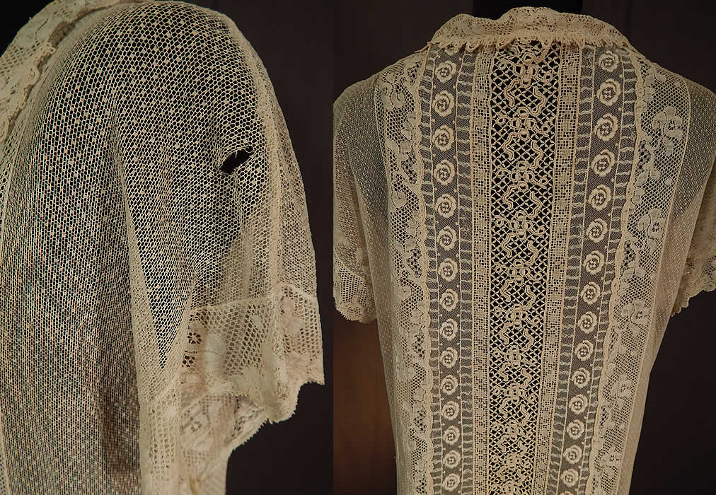 Vintage Embroidered Cream Net Filet Crochet Mixed Lace Drop Waist Shift Dress