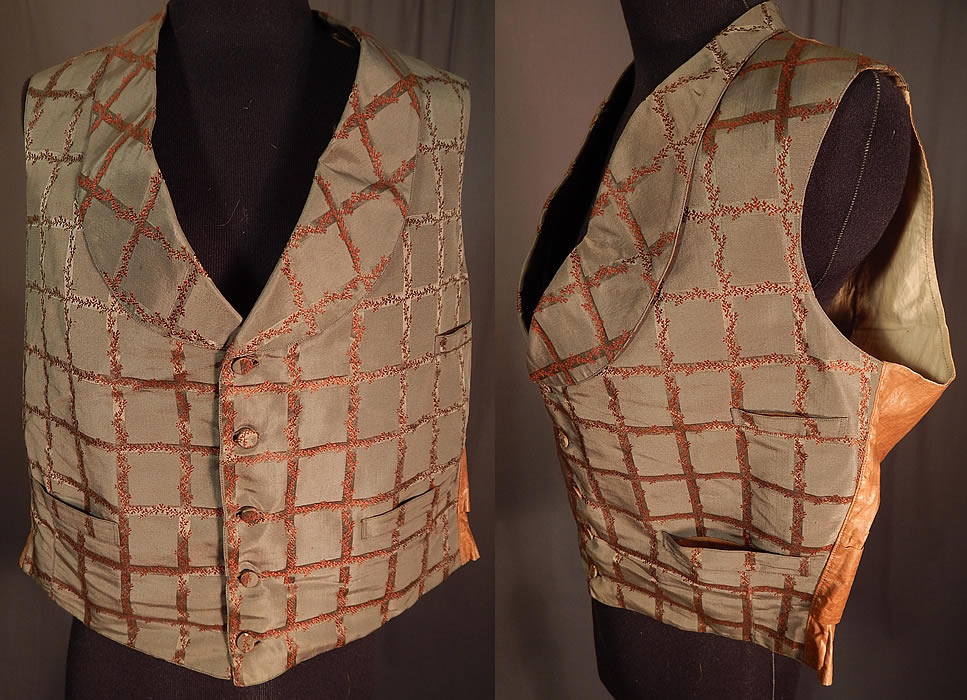 Victorian Gentleman's Grid Lattice Trellis Vine Silk Damask Brocade Waistcoat Vest