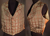 Victorian Gentleman Grid Lattice Trellis Vine Silk Damask Brocade Waistcoat Vest