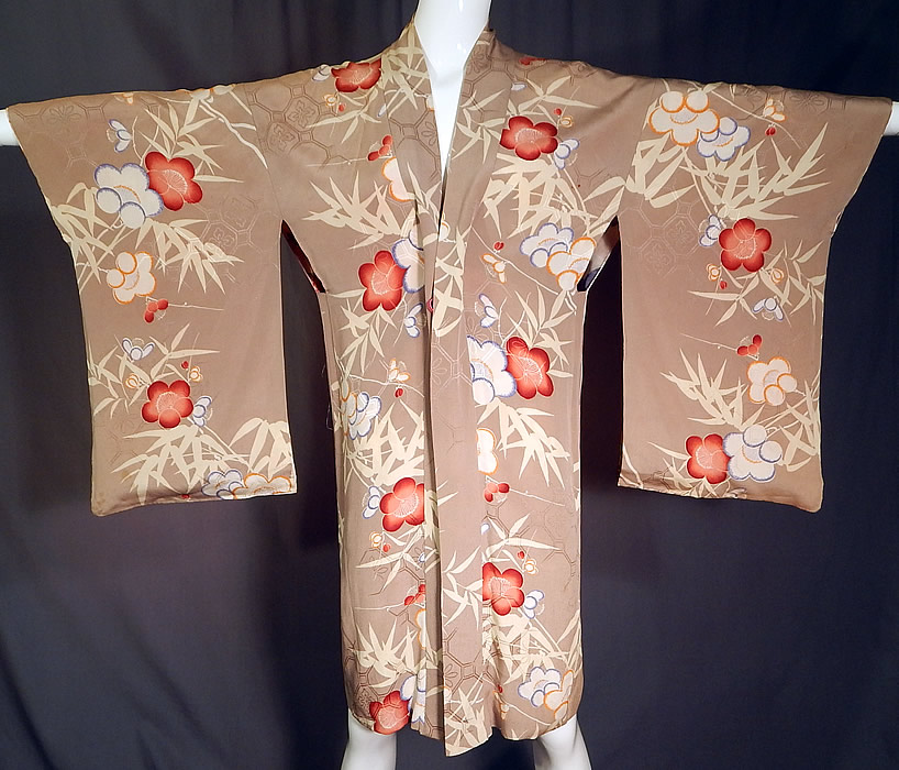 Vintage Japanese Silk Screen Plum Blossom Reversible Haori Kimono Robe Jacket