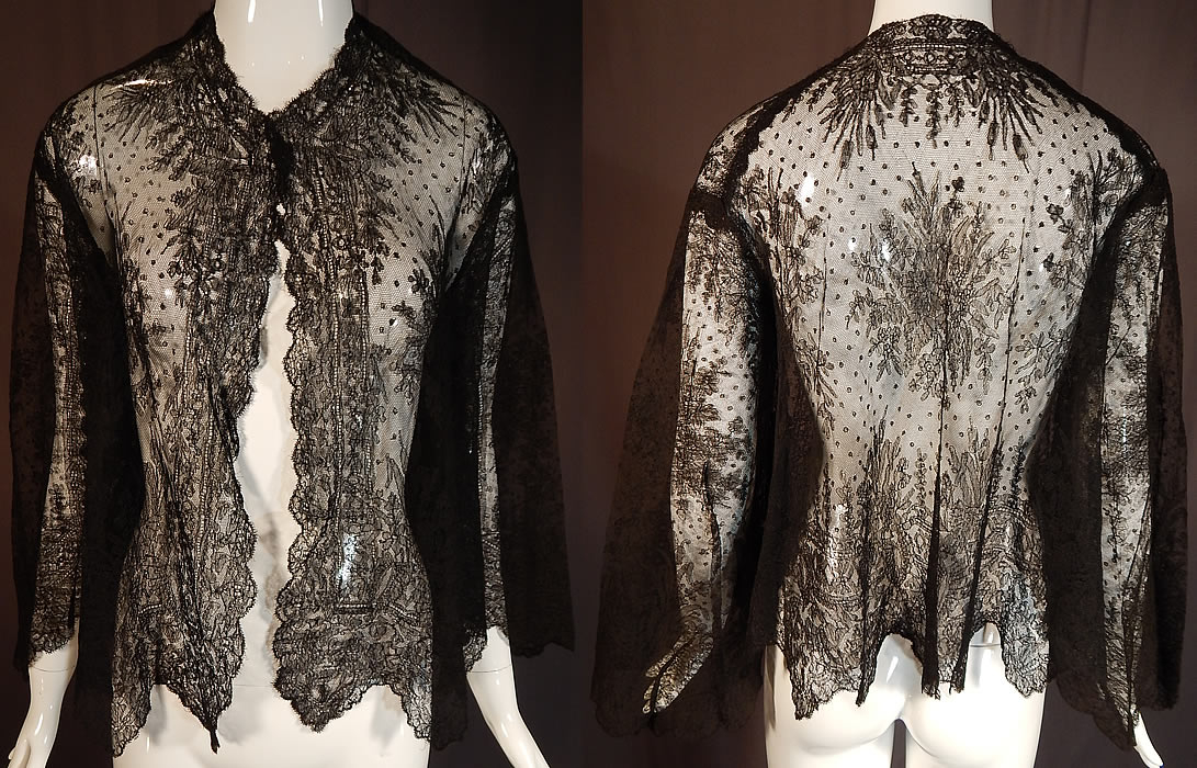 Victorian Antique Black Chantilly Lace Shawl Wide Pagoda Sleeve Jacket