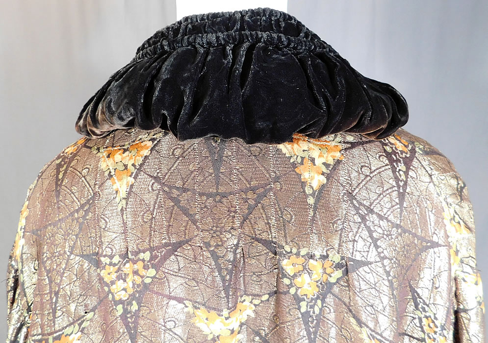 Vintage Art Deco Gold Lame Floral Print Velvet Flapper Opera Coat Jacket