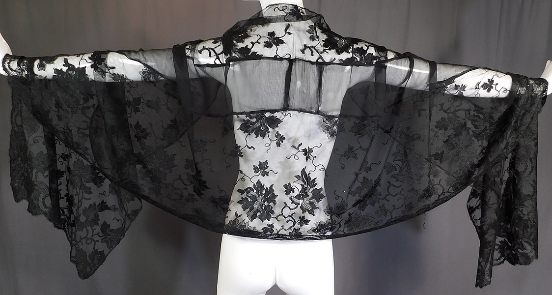 Vintage Sheer Black Silk Chiffon Grape Leaf Vine Pattern Lace Stole Mantilla Shawl