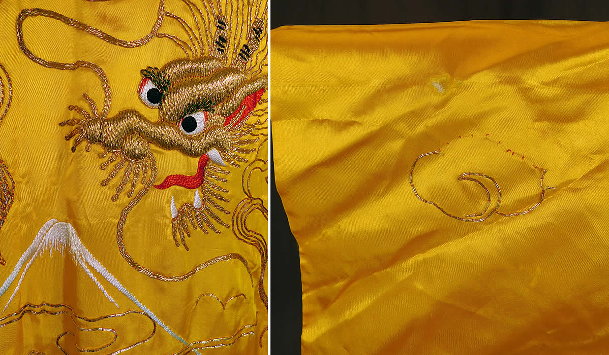 Vintage WWII Japanese Gold Couching Embroidery Dragon Yellow Kimono RobeIt is in good as-is condition with only a small frayed hole on one sleeve with some missing gold threads on the smoke cloud (see close-up).