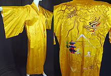 Vintage WWII 1940s Japanese Gold Couching Embroidery Dragon Yellow Kimono Robe