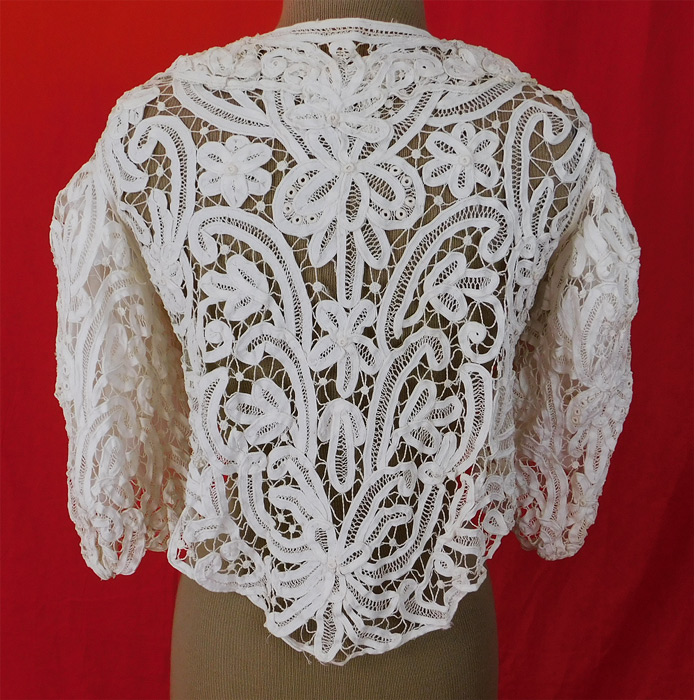 Victorian White Battenburg Tape Lace Short Crop Bodice Blouse Bolero Jacket