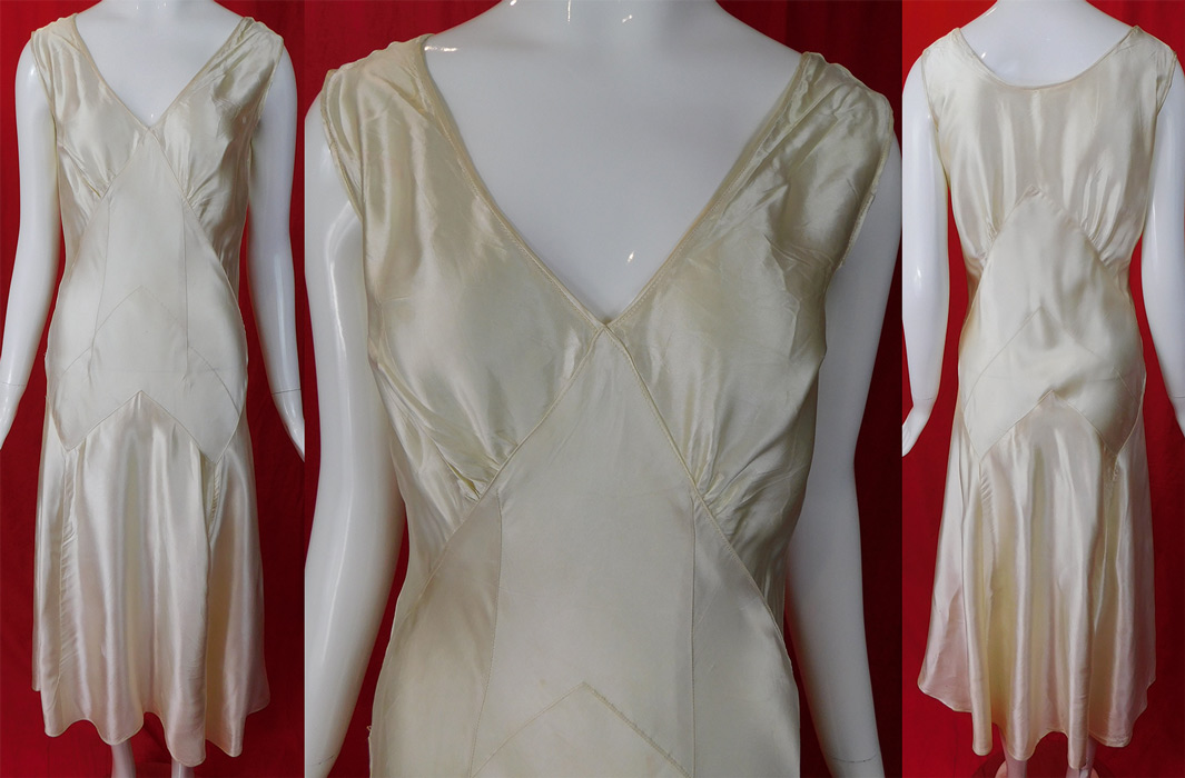 d51441f4c2 This vintage white silk satin charmeuse bias cut wedding gown dress dates  from the 1930s. It is made of a lustrous white silk satin charmeuse fabric.