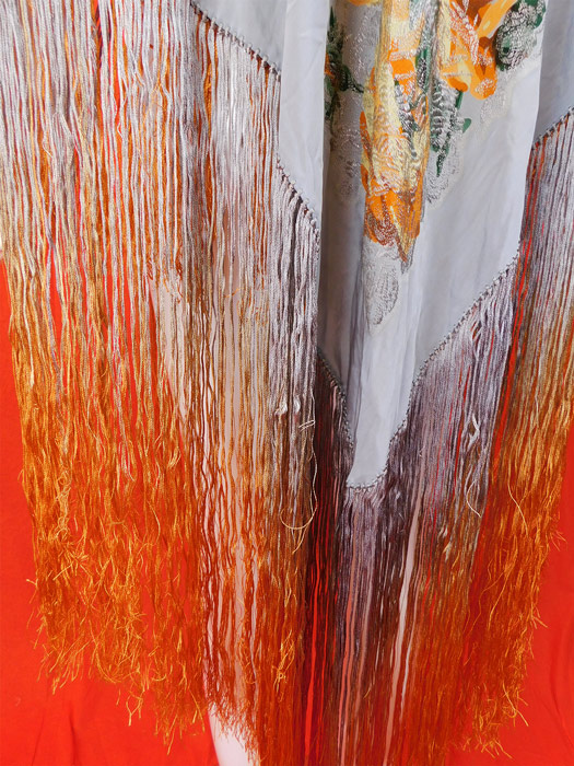 Vintage Art Deco Blue Silk Silver Lame Yellow Roses Ombre Fringe Flapper Piano Shawl