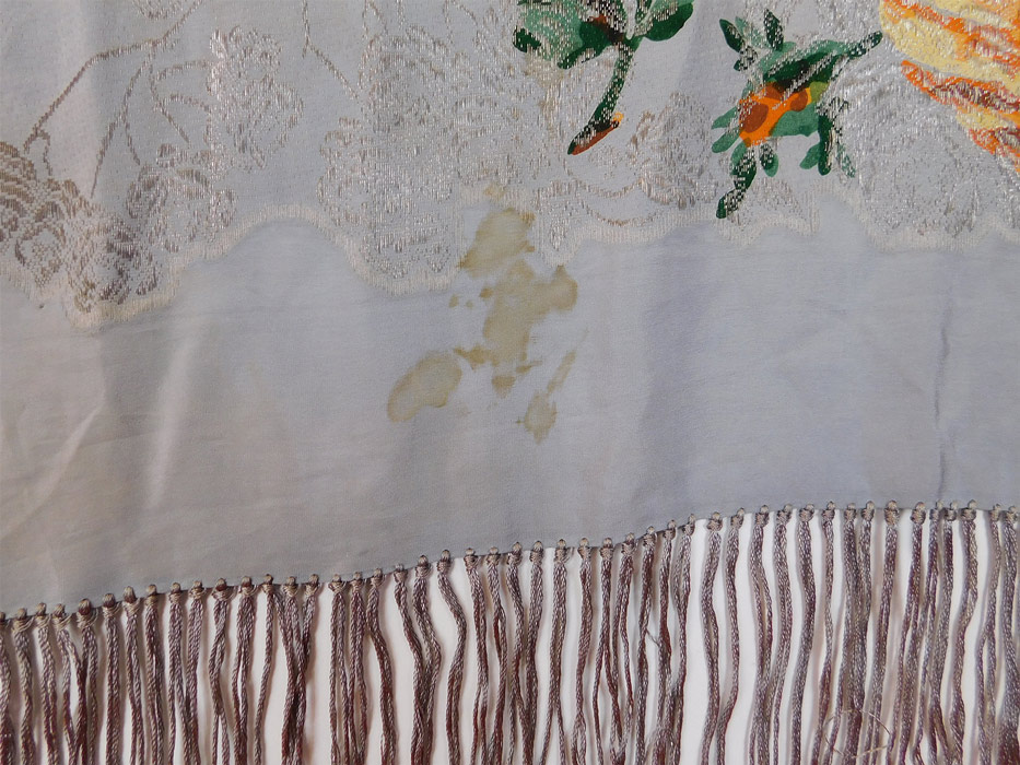 Vintage 20s Art Deco Blue Silk Silver Lame Yellow Roses Ombre Fringe Piano Shawl