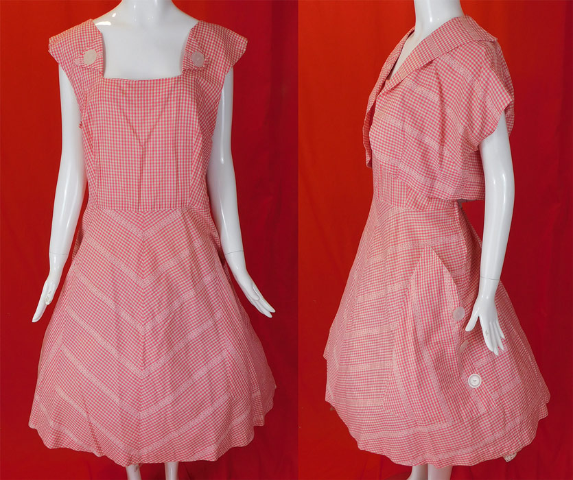 Vintage Pink White Cotton Check Gingham Circle Skirt Dress & Shrug Jacket