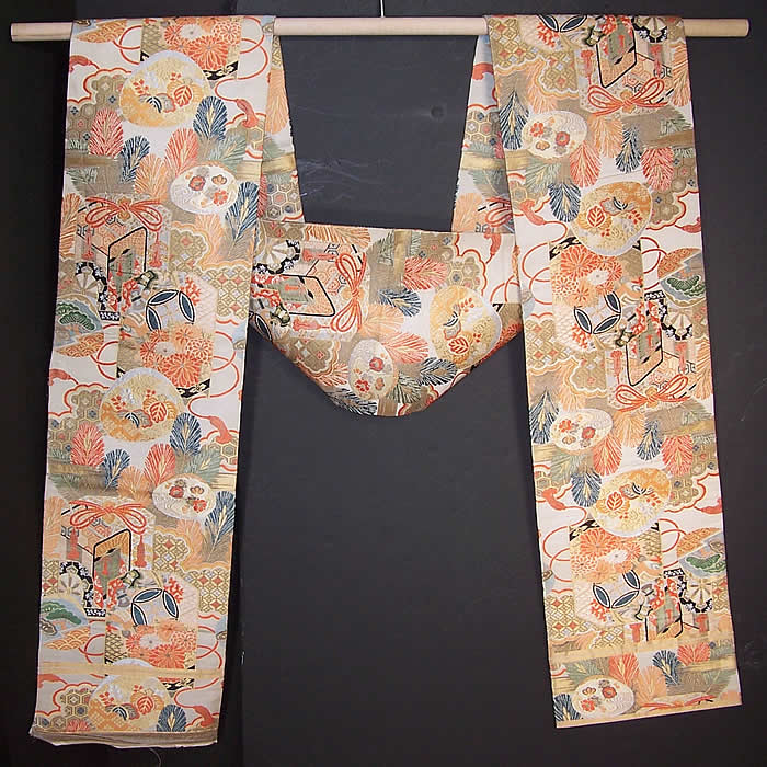 Vintage Japanese Geisha Orange Silk Gold Brocade Gift Cart Wheel Kimono Obi Sash  Front view.