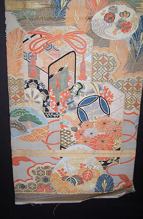 Vintage Japanese Geisha Orange Silk Gold Brocade Gift Cart Wheel Kimono Obi Sash side view.