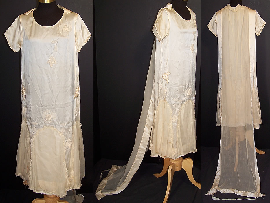 Vintage Cream Silk Beaded Rosette Wedding Dress Watteau Train Gown  Front view.