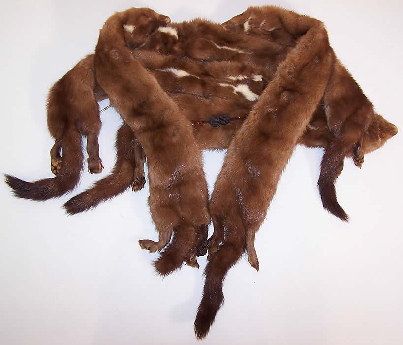 Vintage Stone Marten Mink Fur Stole Shawl Wrap Boa Cape