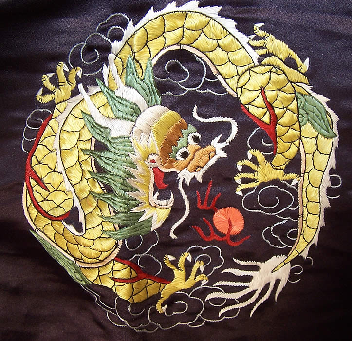 Vintage Chinese Dragon Embroidered Roundel Black Silk Robe Coat close up