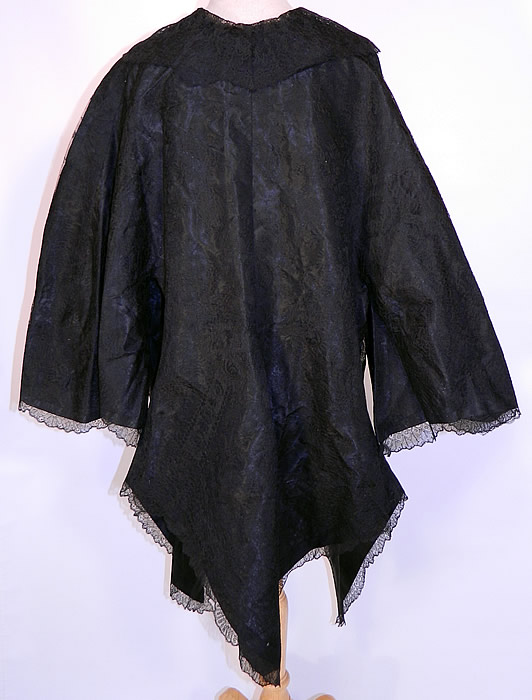 Victorian Civil War Antique Black Chantilly Lace Pagoda Sleeve Robe Coat