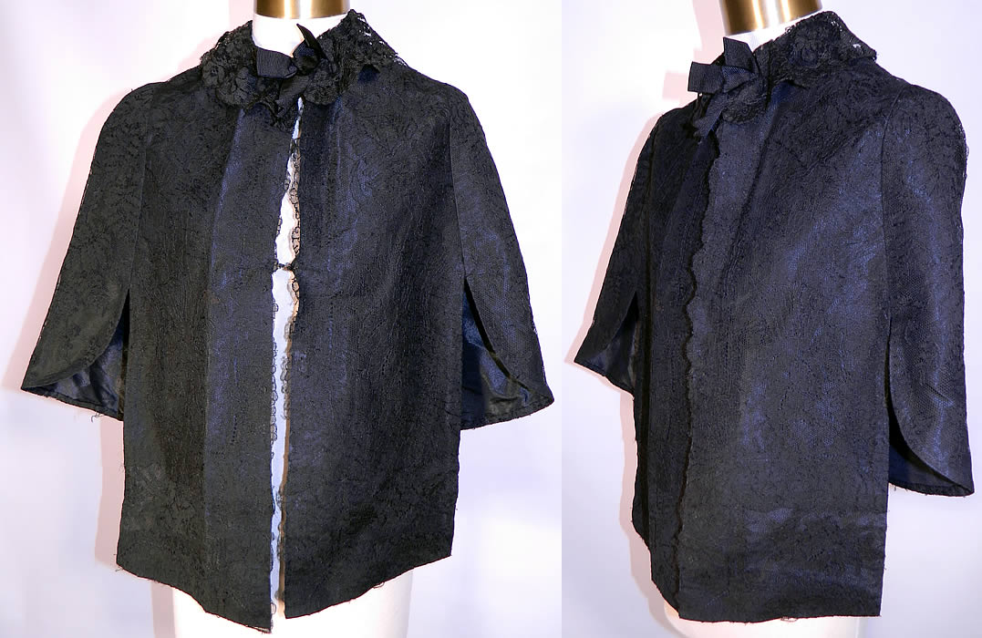 Victorian Black Chantilly Lace Mourning Mantle Cape Dolman Capelet. This antique Victorian era black Chantilly lace mourning mantle dolman cape capelet dates from 1880. It is made of a sheer fine black net French chantilly lace, with a floral foliage pattern outlined in black threads with detailed shading effects.