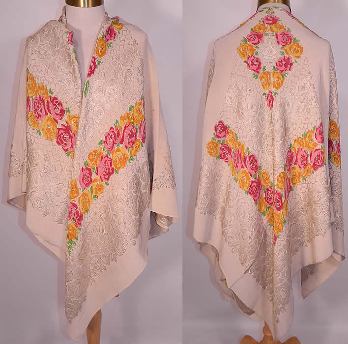 Art Deco Pink & Yellow Floral Roses Silver Lamé White Silk Shawl. This amazing antique Art Deco pink and yellow floral roses silver lamé white silk shawl dates from the 1920s.