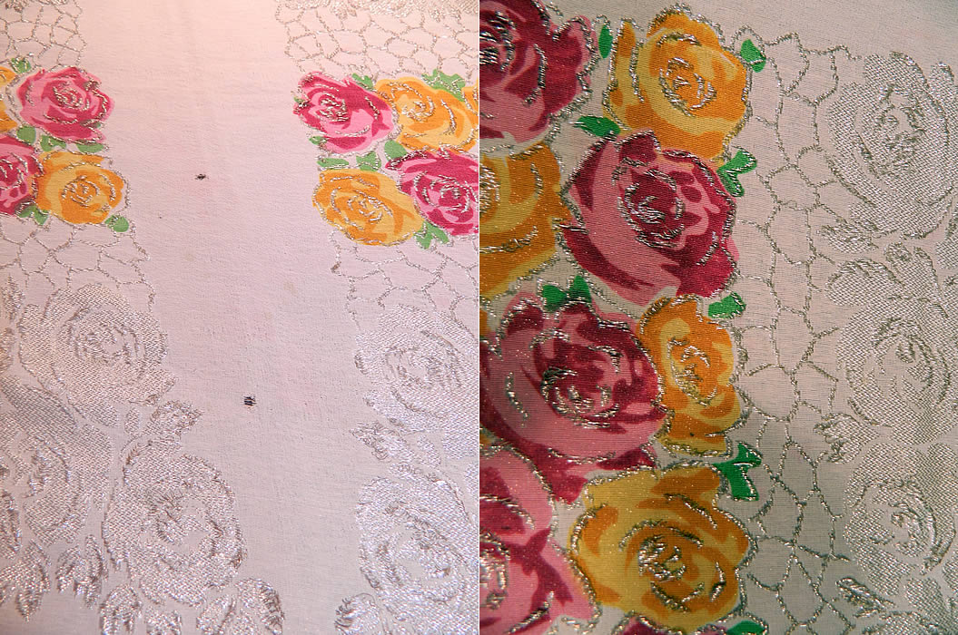 Art Deco Pink & Yellow Floral Roses Silver Lamé White Silk Shawl. It is in good condition, with only three tiny frayed holes near the side edging. This is truly a rare piece of exceptional wearable Art Deco textile art!