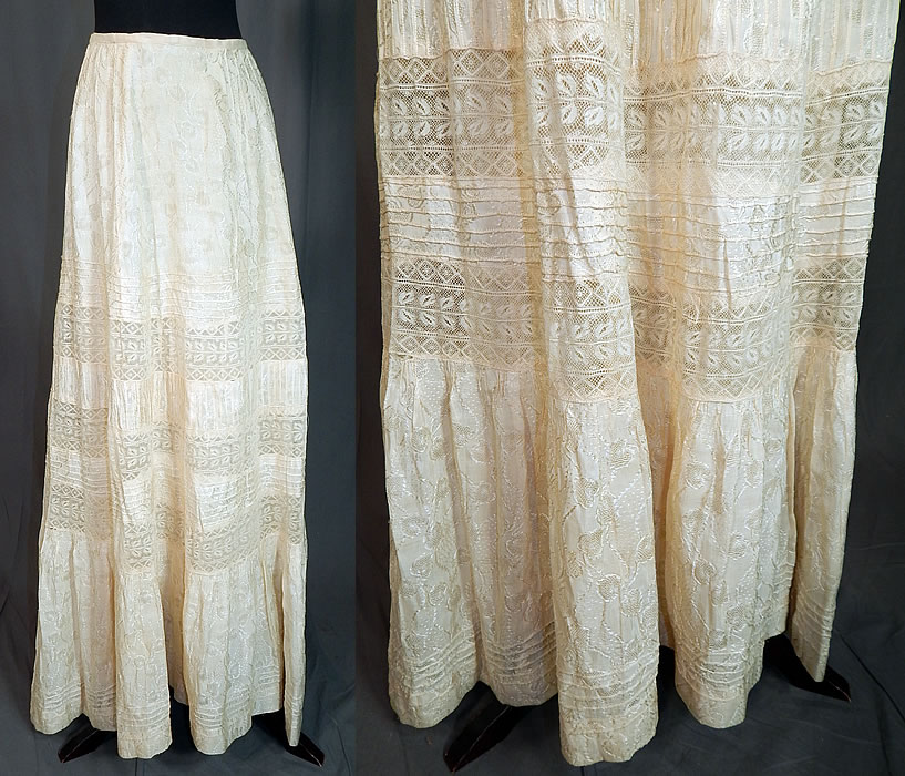 Edwardian Cream Cotton Silk Damask Drawn Cutwork Lace Wedding Skirt Train Back