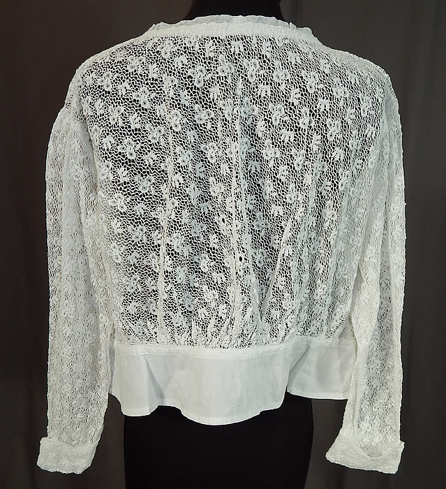 Edwardian Antique White Crochet Lace Pleated Net Blouse Shirt Top