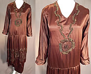 Vintage Art Deco Brown Silk Embroidered Bronze Beaded Flapper Dress Evening Gown