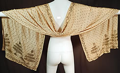Vintage Art Deco Turkish Tel-Kirma Assuit Cream Silk Silver Stud Shawl Scarf