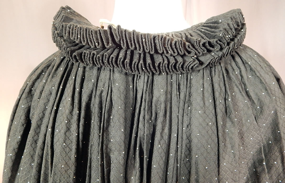 Victorian Black & White Polka Dot Cotton Calico Ruff Collar Winter Cloak Cape