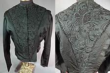 0fdfe3343 Victorian Vintage Black Silk Embroidered Jet Beaded Bodice Coat Jacket Top