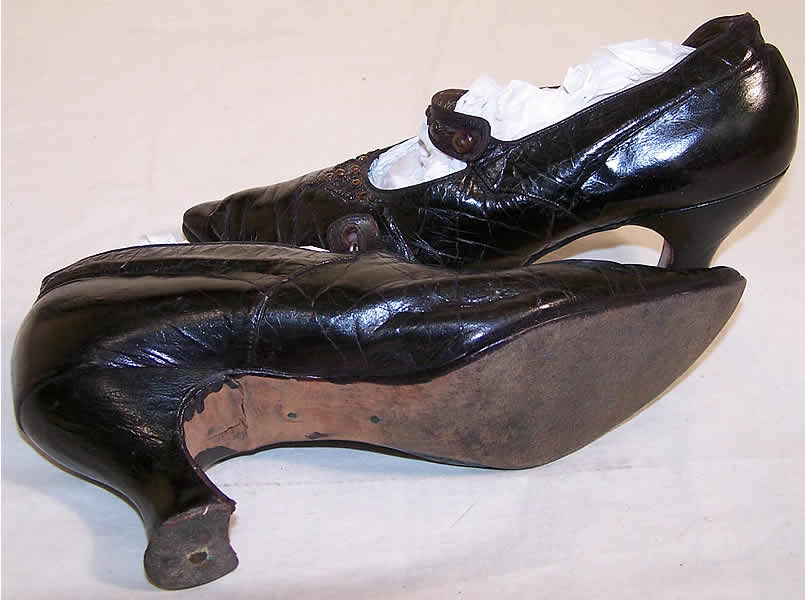 Edwardian Bronze Beaded Button Strap Shoes