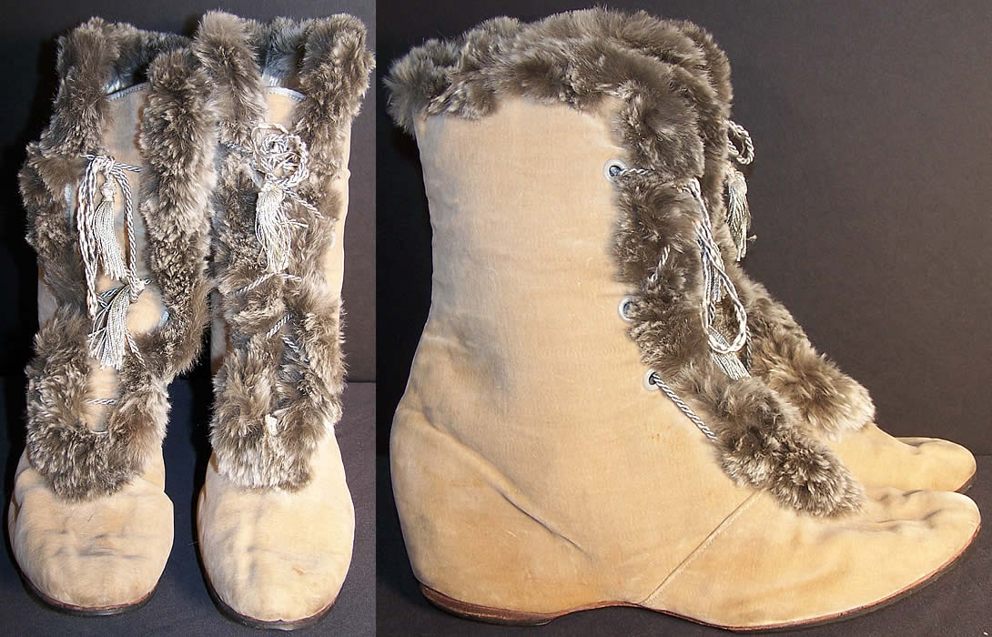 Edwardian Ecru Velvet Gray Fur Trim Winter Carriage Boots  Front view.