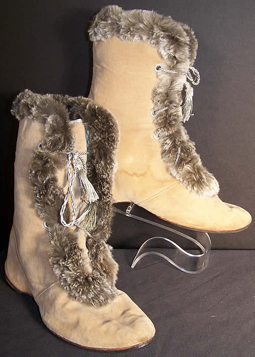 Edwardian Ecru Velvet Gray Fur Trim Winter Carriage Boots.