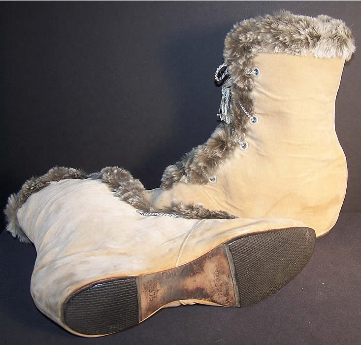 Edwardian Ecru Velvet Gray Fur Trim Winter Carriage Boots Close up.
