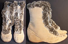 Edwardian Ecru Velvet Gray Fur Trim Winter Carriage Boots