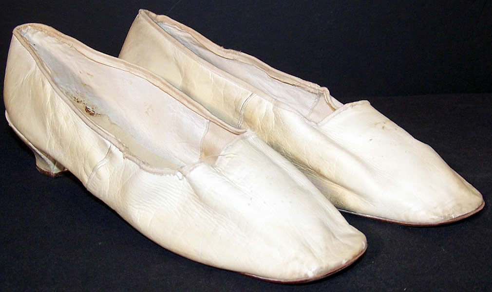 Victorian Wedding White Kid Straight Sole Shoes  Front view.