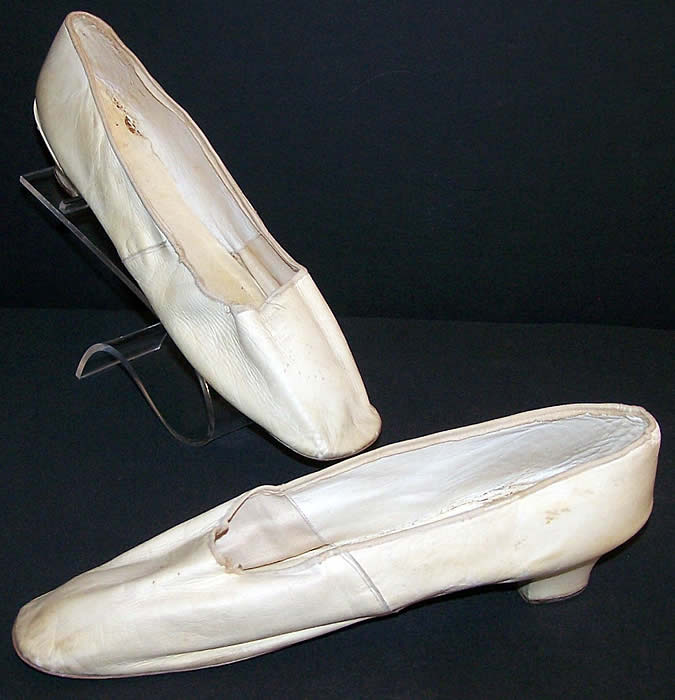 Victorian Wedding White Kid Straight Sole Shoes