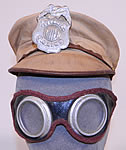 Vintage Childrens Juvenile Police Chief Toy Tin Badge Cap Hat & Motorcycle Goggles