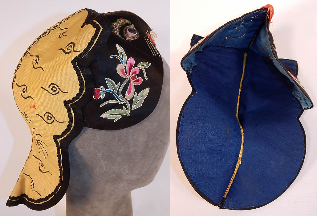 Antique Chinese Child Infant Silk Embroidered Applique Tiger Cat Wind Hat