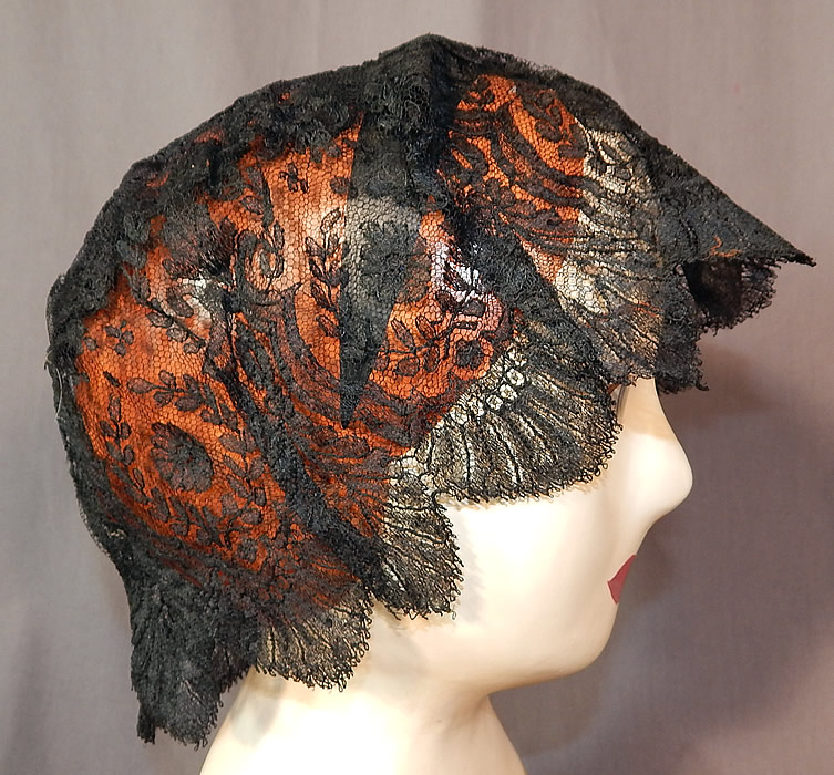 Victorian Civil War Era Antique Black Chantilly Lace Bed Cap Morning Bonnet Hat