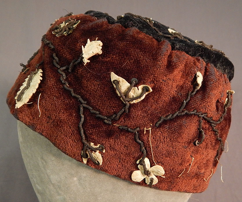 Victorian Gold Bullion Embroidered Brown Velvet Gentlemens Smoking Cap