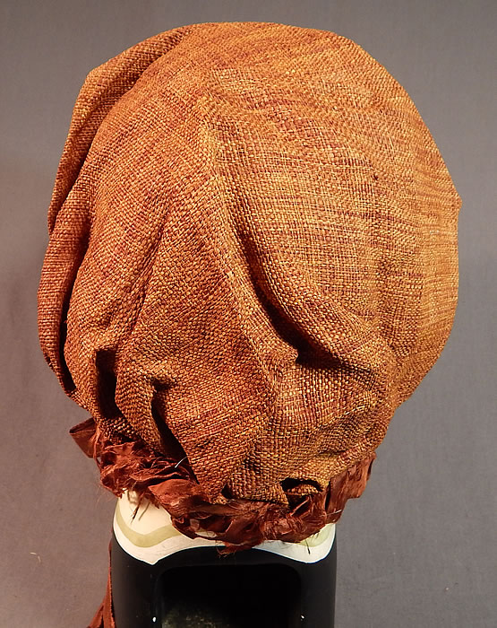 Victorian Woven Brown Straw Chintz Fabric Trim Calash Sun Bonnet Hood Hat