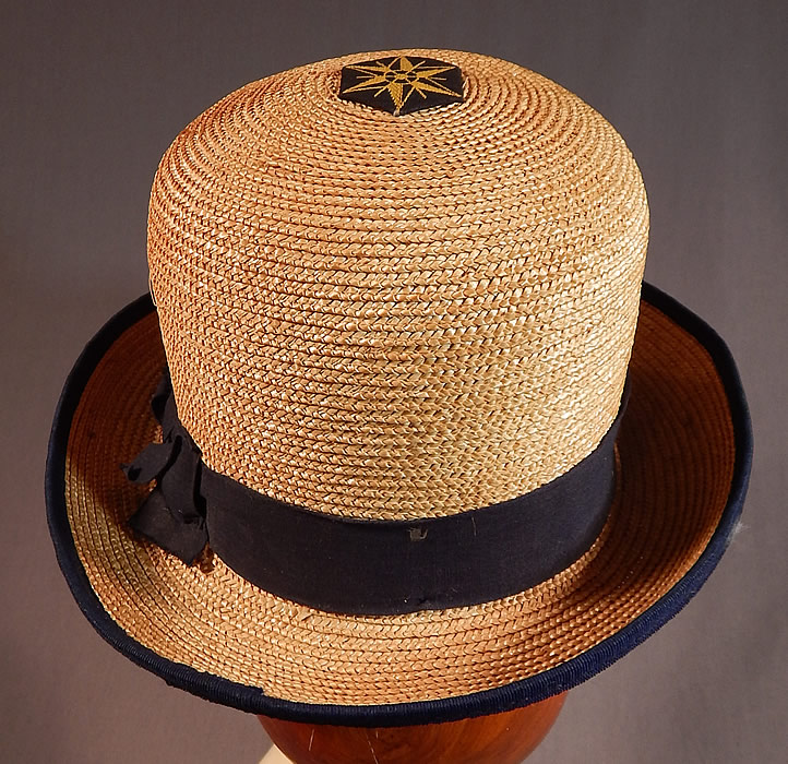 Vintage WWI Womens Natural Straw Australian Flag Glory Derby Bowler Hat