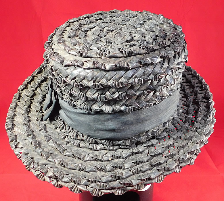 Edwardian Womens National Cloak Suit Co. NY Black Straw Boater Hat