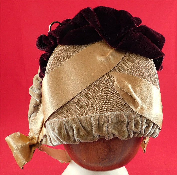 Victorian Woven Natural Straw Beige Burgundy Velvet Brass Hook Trim Bonnet Hat