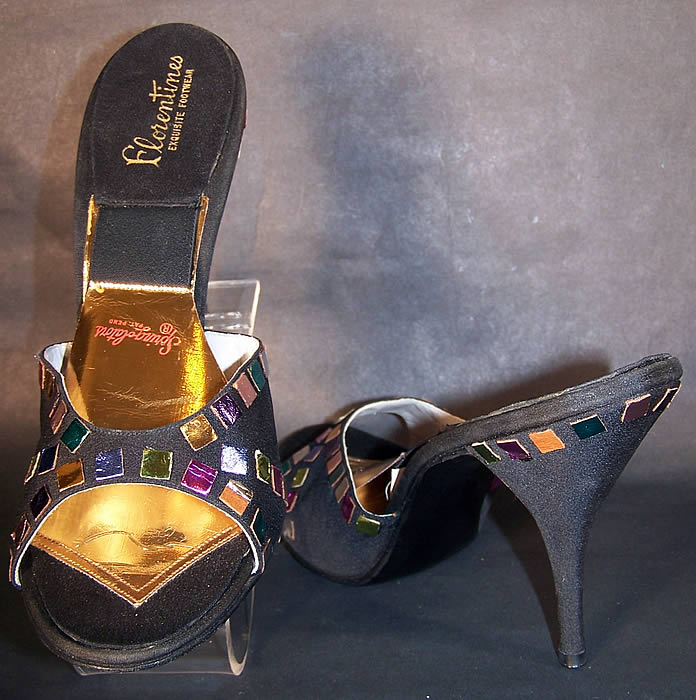 Vintage Springolator Black Silk Jewel Stiletto Shoes Mules front back view.